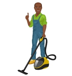 African american man posing with vacuum cleaner vector image