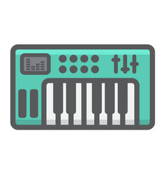 analog synthesizer filled outline icon music vector image vector image