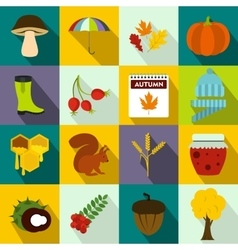 Autumn icons set flat style vector image