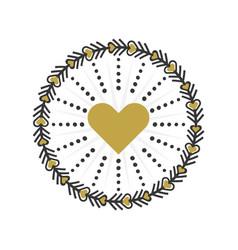 Black and golden circle heart wreath emblem icons vector