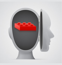 Block inside open head logic concept vector