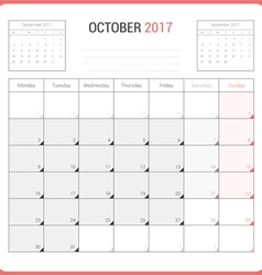 Calendar Planner for October 2017 vector image vector image