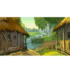 Cartoon landscape rustic hut by the river vector