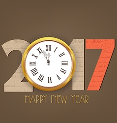 Creative happy new year 2017 clock design vector