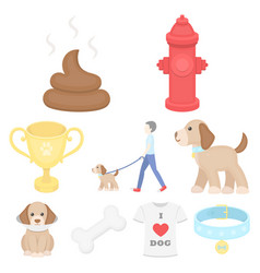 dog equipment set icons in cartoon style big vector image vector image