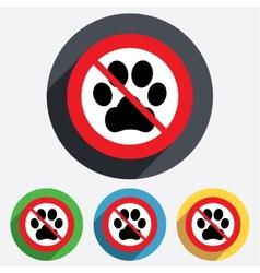 Dog paw sign icon No Pets symbol vector image vector image