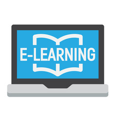 E learning flat icon education and online vector
