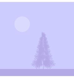 Fir tree silhouette at sunset vector