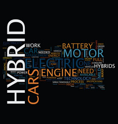 For hybrid cars text background word cloud concept vector