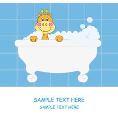 giraffe bathing vector image vector image