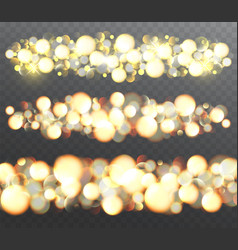 Golden glowing effects with sparkles vector