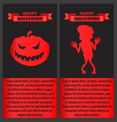 Happy halloween poster with zombie and pumpkin set vector