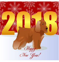 Happy new year card with cocker spaniel vector