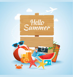 hello summer time travel season banner design vector image vector image