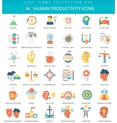 Human productivity color flat icon set vector image vector image