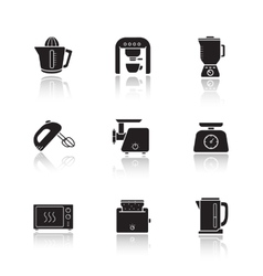 Kitchen electronics drop shadow icons set vector