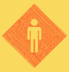 Man sign red scribble icon vector