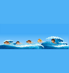 many children swimming in the ocean vector image vector image