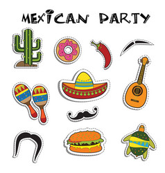 Mexican party sticker applique set vector