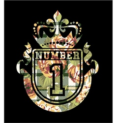 Number 1 coat of arms with roses and tartan vector image vector image