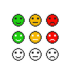 Pixel emoji symbol faces emotion set vector