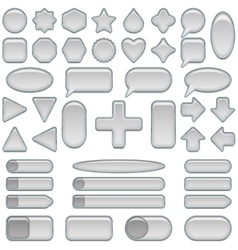 Silver glass buttons set vector image vector image