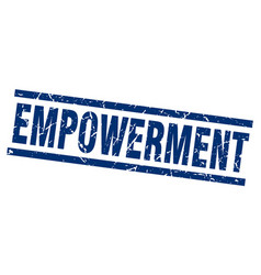 Square grunge blue empowerment stamp vector