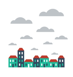 Street of houses on cloudy day vector