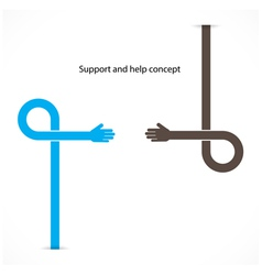 Support and help concept teamwork hands concept vector