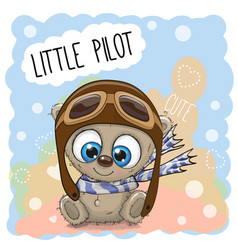 teddy bear in a pilot hat vector image vector image