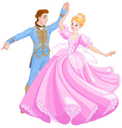 the ball dance of cinderella and prince vector image vector image