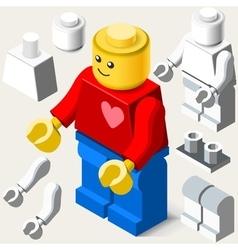 Toy block man games isometric vector