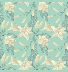 Tropical lily engraving seamless pattern vector