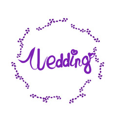 Wedding lettering with elegant floral frame vector