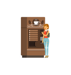 young woman using coffee vending machine vector image