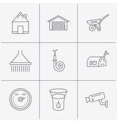 Real estate garage and heat regulator icons vector