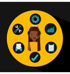 Afro girl support operator assistance vector