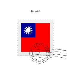Taiwan flag postage stamp vector