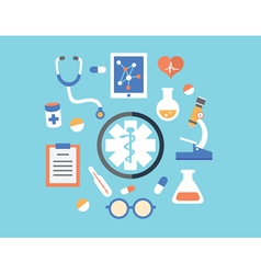 Flat abstract concept of medicine with emblem vector