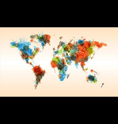 Grunge colorful world map vector