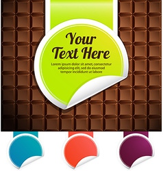 Green label on a chocolate bar color variations vector