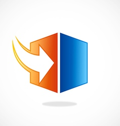 Storage arrow download cube logo vector