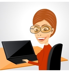 Secretary sitting at table with laptop vector