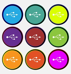 Usb icon sign nine multi colored round buttons vector