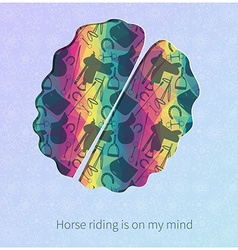 Riding horses colorful brain design vector