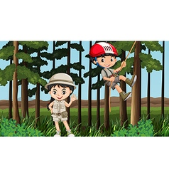 Boy and girl having fun in the forest vector