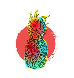 Colorful pineapple art for summer vector