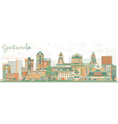 Abstract guatemala skyline with color buildings vector