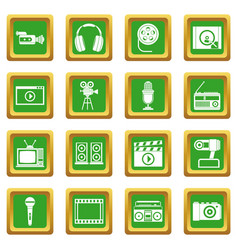 Audio and video icons set green vector