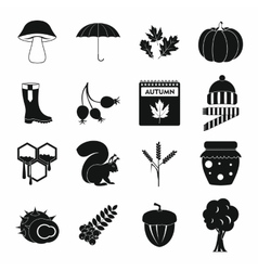 Autumn icons set simple style vector image